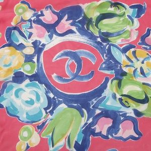 CHANEL Silk Scarf Square Pink COTE D'AZUR Floral
